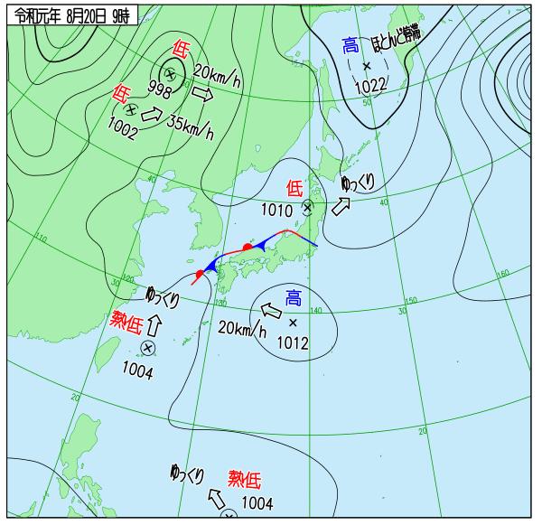 2019年8月20日9時の天気図